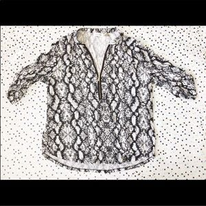 Calvin Klein Python V-Neck Tab Sleeves Blouse